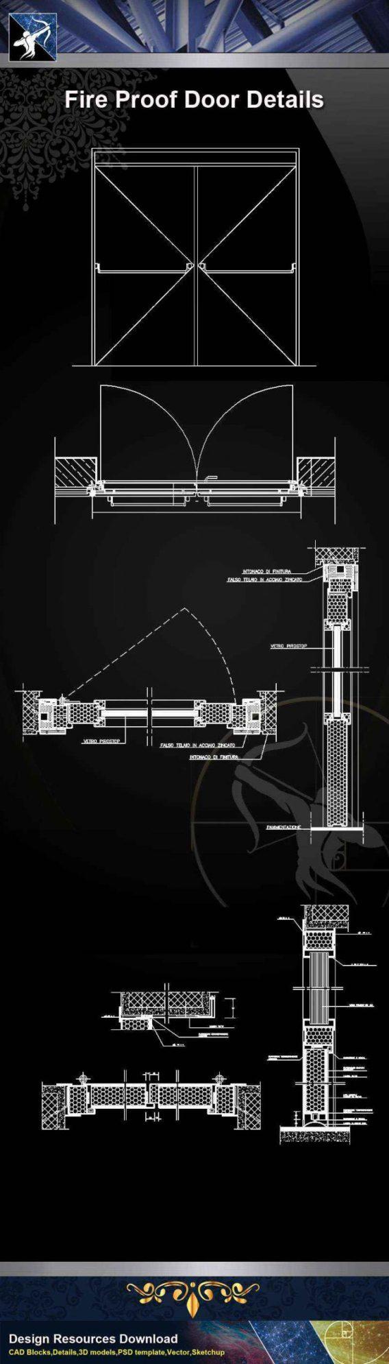【Architecture CAD Details Collections】Fire Proof Door CAD Details