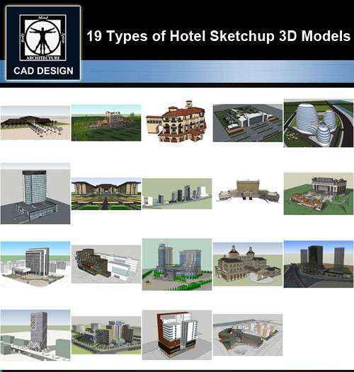 ★【Sketchup 3D Models】19 Types of Hotel Sketchup 3D Models V 2