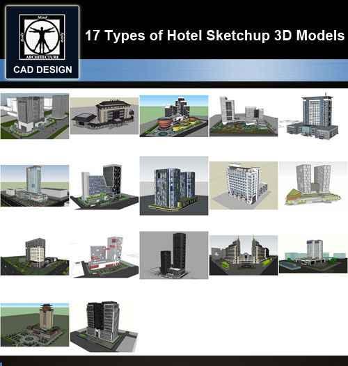 ★【Sketchup 3D Models】17 Types of Hotel Sketchup 3D Models V 3