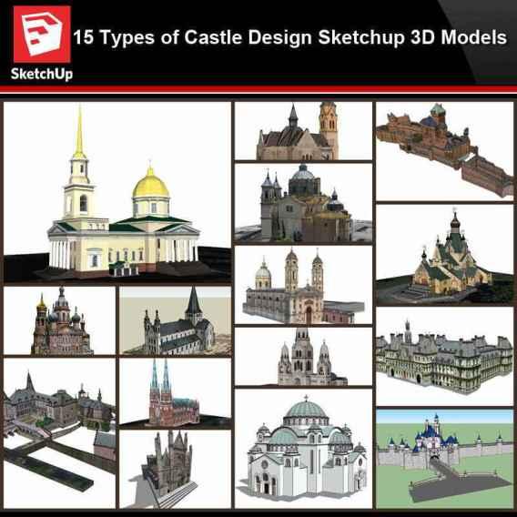 💎【Sketchup Architecture 3D Projects】15 Types of Castle Design Sketchup 3D Models V3