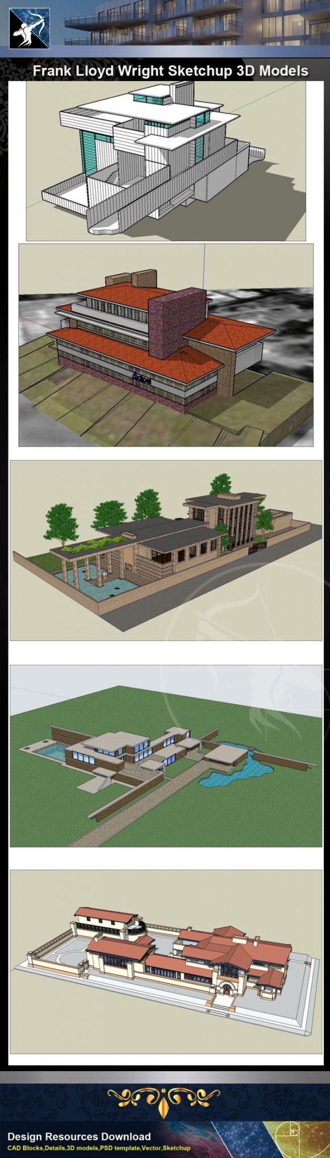 【建築大師Sketchup Models-法蘭克·洛伊·萊特Frank Lloyd Wright精選16項建築3D模型】