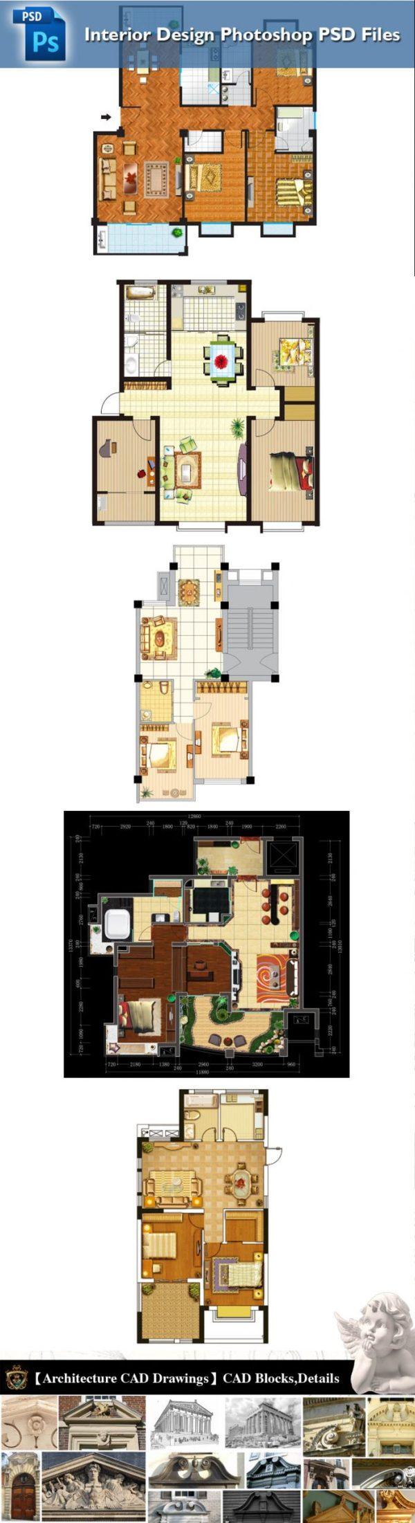 PSD檔案格式集合住宅平面配置圖、各種戶型平面配置PSD檔、大樓公寓配置圖PSD檔、小區景觀配置PSD檔、公設景觀配置圖