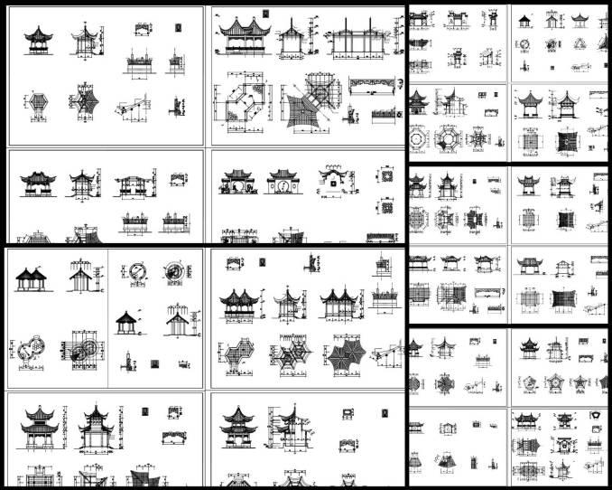 中式園林 ,亭子 ,傳統樣式亭子CAD圖紙(Chinese style, Ancestral hall, Stage Design)
