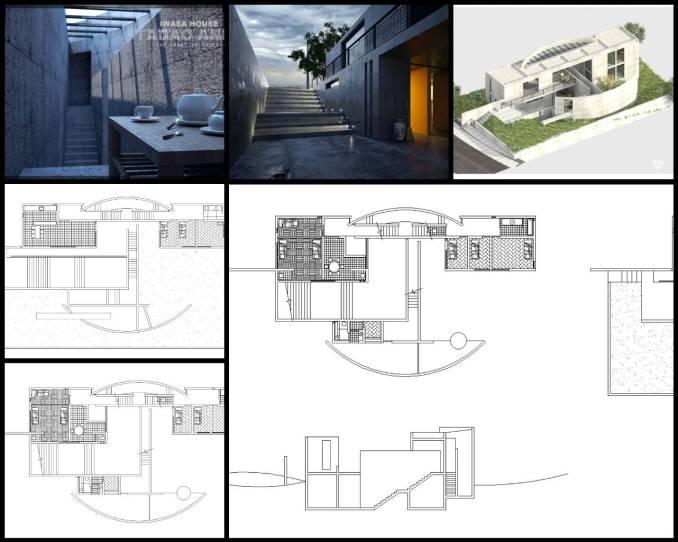 【世界知名建築案例研究CAD設計施工圖】安藤忠雄Tadao Ando- Iwasa House