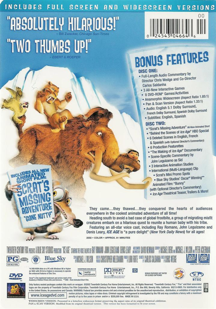 Special Ice Age Dvd Edition Ebay 2 Disc