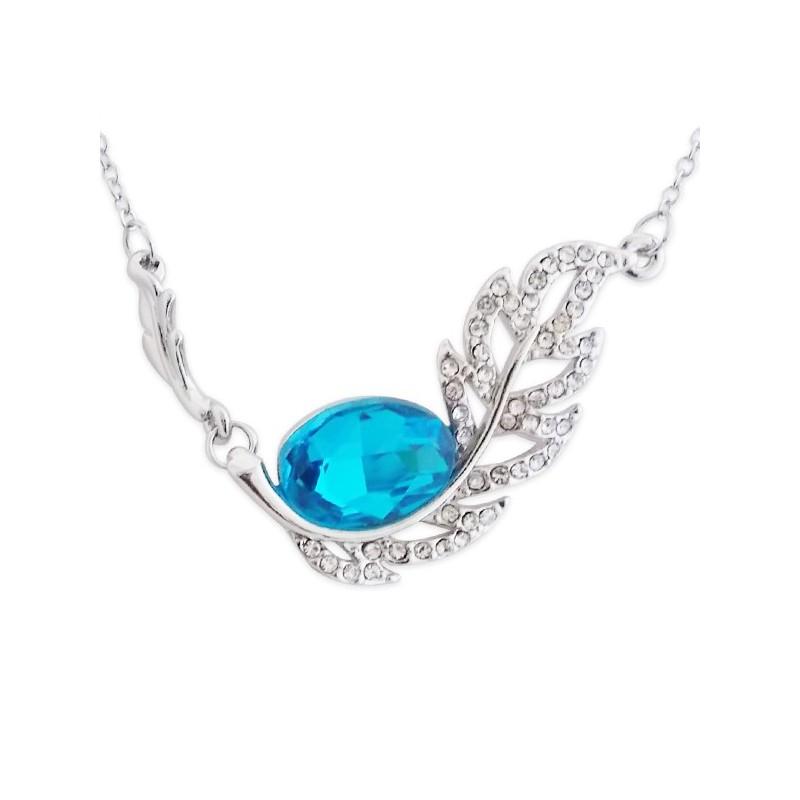Collier Pendentif Feuille Strass Et Faux Cristal Bleu