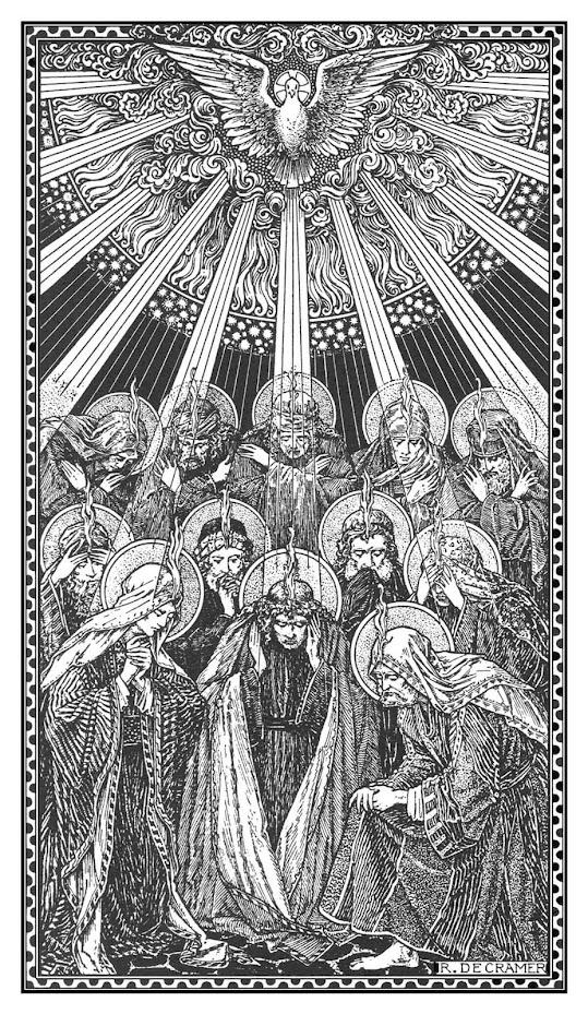 Pentecost_woodcut-print