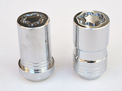 "The two styles of locks available for ATS-V and CTS-V. The ""Tuner"" style (at left) is for some aftermarket wheels with small diameter wheel nut holes."