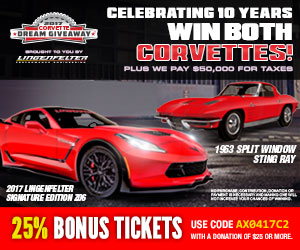 Get 25% off bonus tickets to win this 2017 Lingenfelter Corvette Z06 and 1963 Split Window Coupe!
