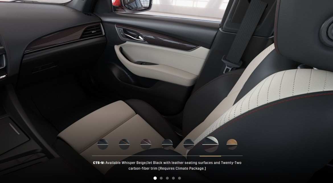 CT5-V: Available Whisper Beige/Jet Black with leather seating surfaces and Twenty-Two carbon-fiber trim