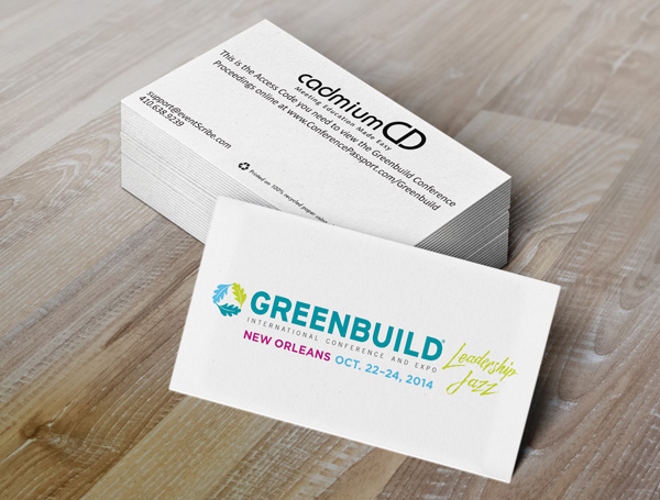 CadmiumCD's recycled conference proceedings keycards printed with plant-based ink for Greenbuild 2014.