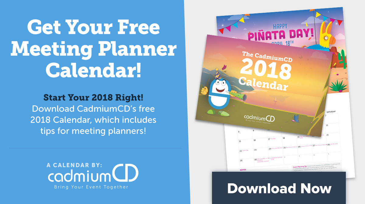 2018 cadmiumcd calendar for event planners cadmiumcd