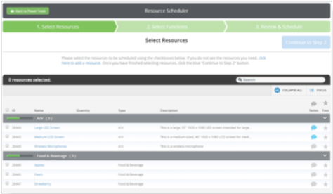 The Resource Scheduler will be used after all resources have been added within the Logistics Module. Similar to the Presentation and Team Member Scheduler, it is a step-by-step tool that will walk you through the assignment of resources to specific Functions. The Resource Scheduler is a part of the first phase of the Logistics Module.