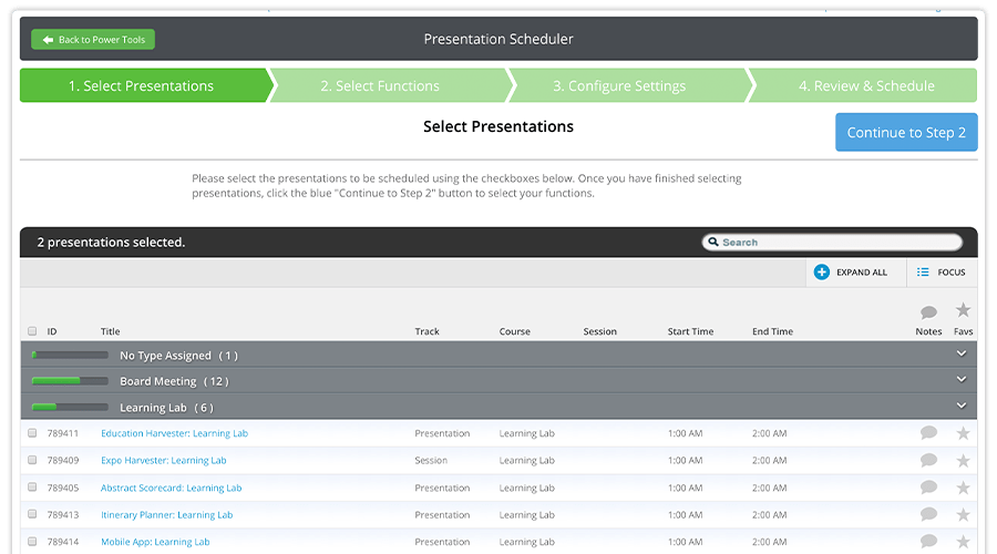 The Presentation Scheduler allows you to import your presentation data from the Harvester even before you have dates and time slots associated with those presentations. The Logistics Module will allow you to sort your presentations and assign them to different functions in bulk, so you'll spend less time sorting through all that data.