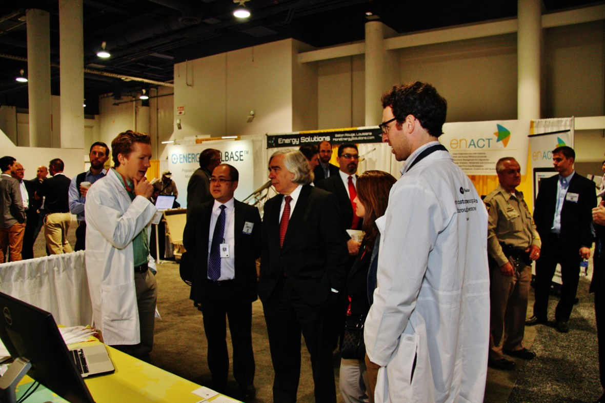 Secretary of Energy, Ernest Moniz, visiting finalists in the SPI Start Up Alley. This particular company went on to win the Start Up Alley Challenge. CadmiumCD's Abstract Scorecard was used to select these winners.