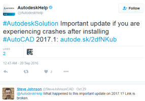Magical disappearing AutoCAD 2017.1 crash information