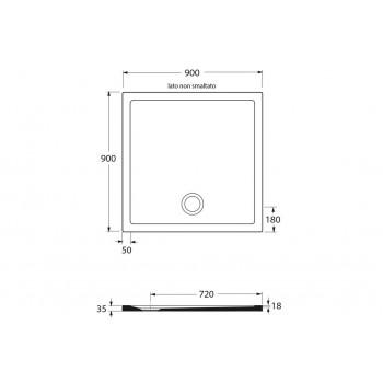 receveur de douche 90x90 cm en ceramique ultra mince