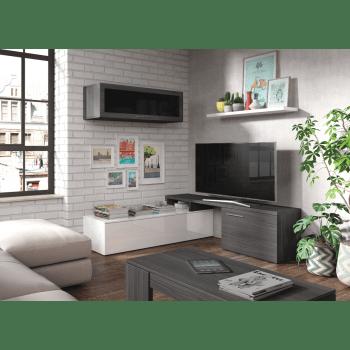 ensemble meuble tv nova 200 cm blanc brillant et gris cendre