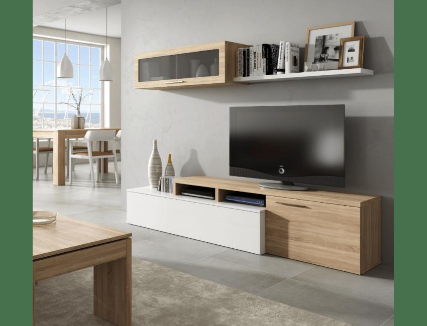ensemble meuble tv nova 200 cm blanc brillant et roble canadien couleur blanc brillant roble canadian