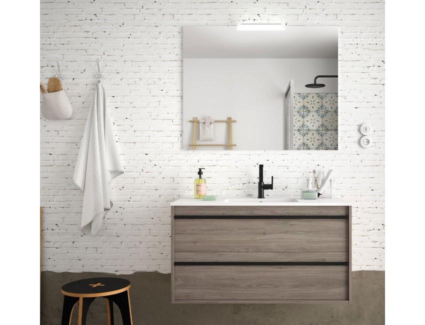 meuble de salle de bain suspendu 100 cm nevada en bois couleur chene eternity avec lavabo en porcelaine dimension 100 cm accessoires standard