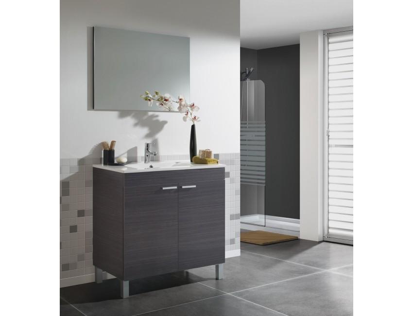 meuble de salle de bain sur le sol 80 cm gris cendre avec miroir et lavabo en ceramique accessoires standard couleur gris cendre