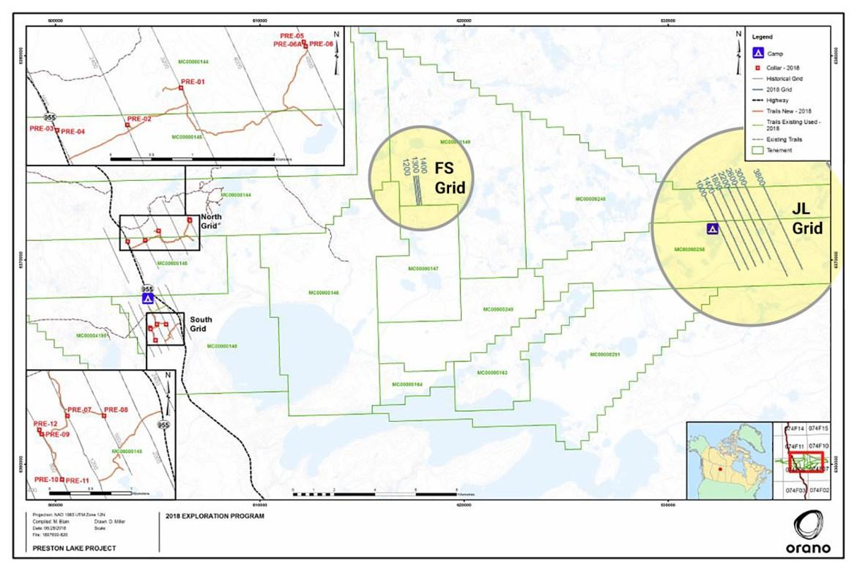 Preston Uranium Project – 2018/2019 Exploration Program Map