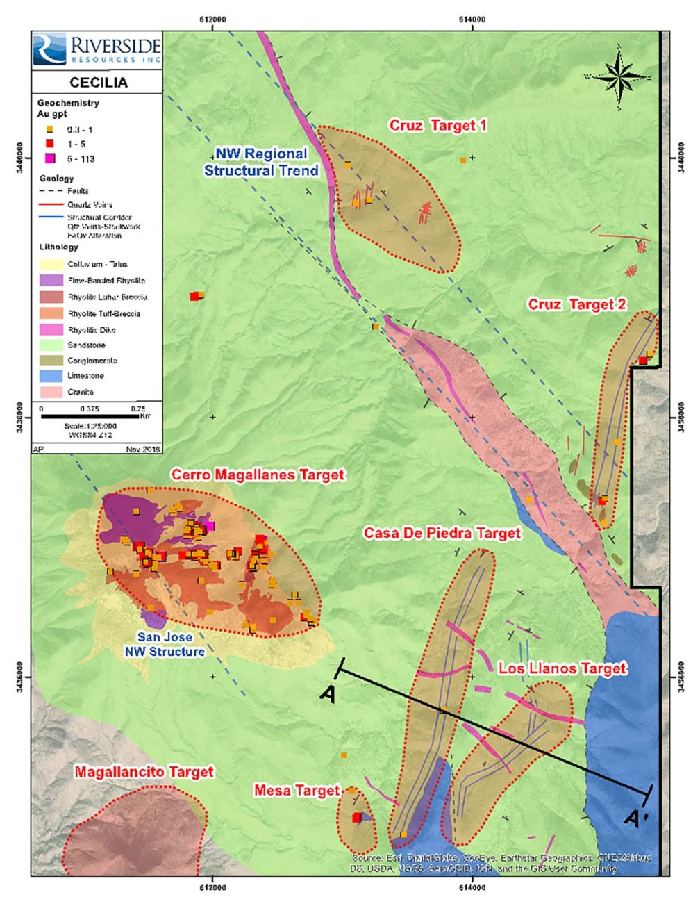 This image shows the geological mapping and gold values of the target areas and puts in context the new target areas locations in comparison to Cerro Magallanes.