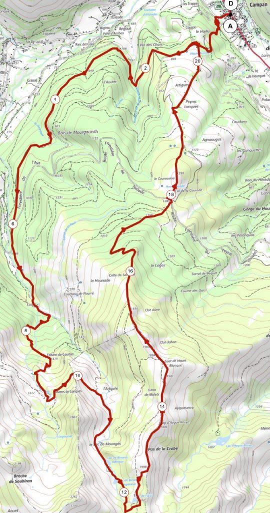 Carte sortie trail lac de Binaros