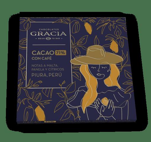 Barra 71% Cacao + Café - Chocolates Gracia