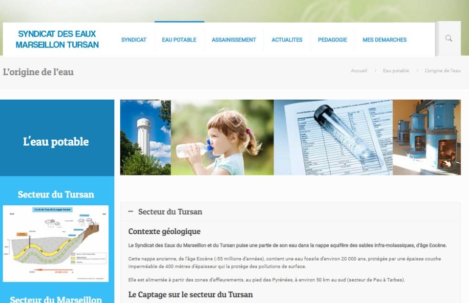 Site web Syndicat des eaux Marseillon Tursan