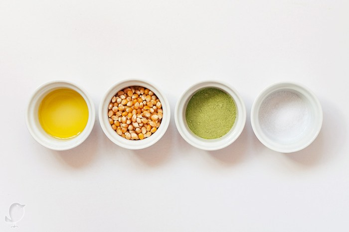 Palomitas con té matcha: ingredientes