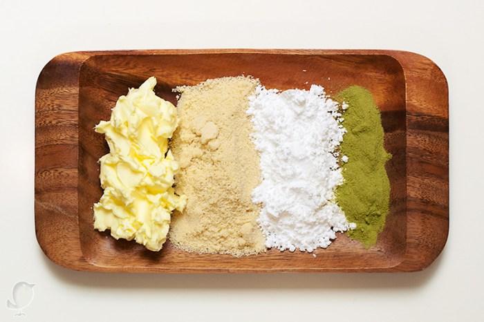 Bombones de té matcha y almendra: ingredientes