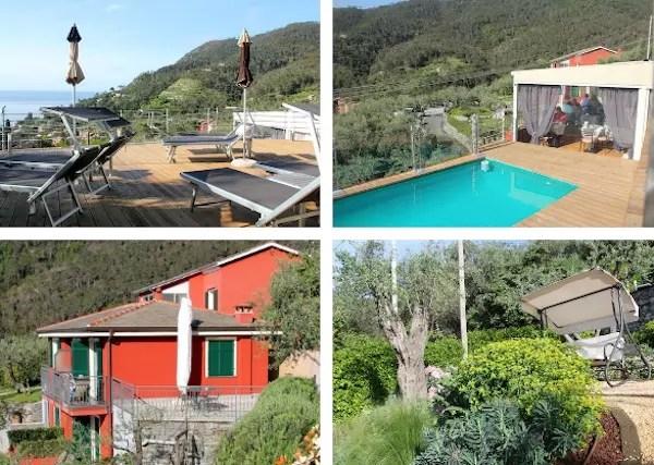 um pouco do jardim e da piscina
