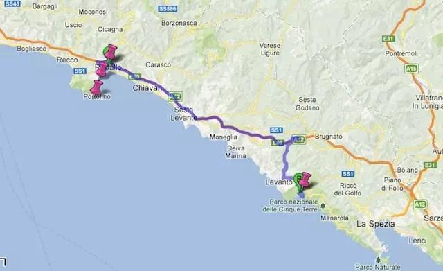60 km de Rapallo a Monterosso que levam por volta de 1 hora e meia