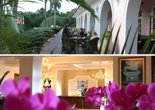 ambiente externo do bar e recepção do hotel