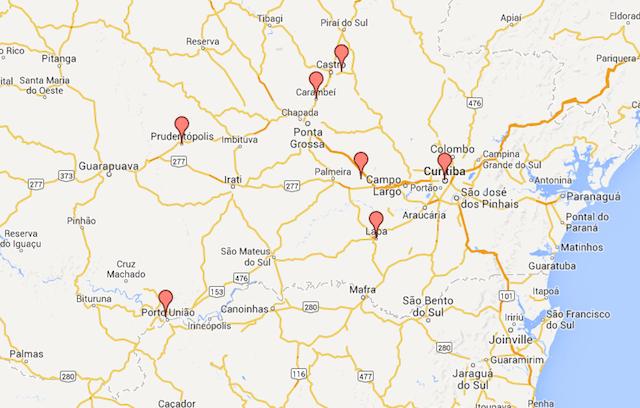 cidades visitadas em 5 dias intensos de programação