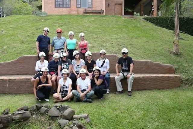O grupo pronto para a aventura no Ninho do Corvo