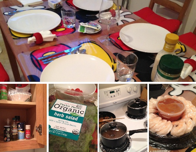 fazendo comidinha em casa: camarão, guisadinho com massa, saladas e seus molhos americanos deliciosos