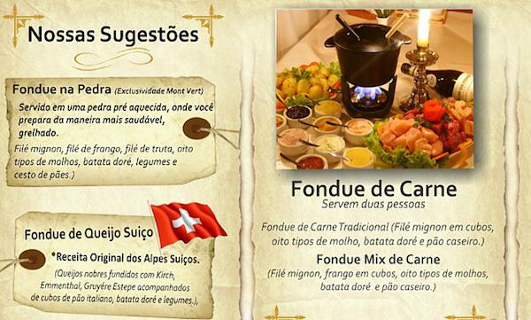 Um pedacinho do cardápio do Mont Vert (fonte: site do restaurante)
