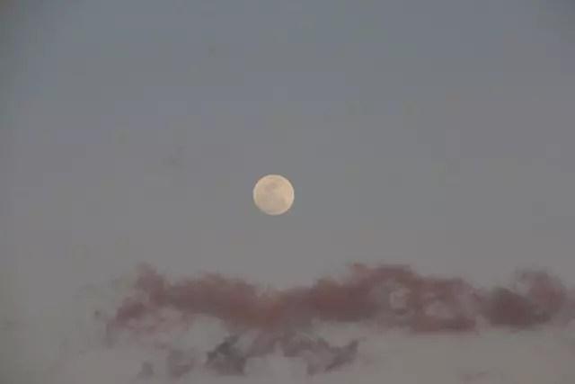 o visual incrível da lua cheia na janela ao lado da nossa mesa!