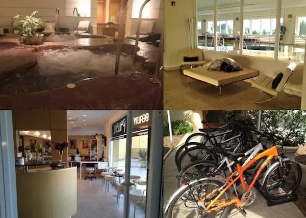as 4 jacuzzis imperdíveis, o salão de beleza e as bicicletas para alugar