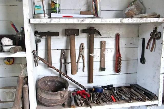 as ferramentas organizadas...