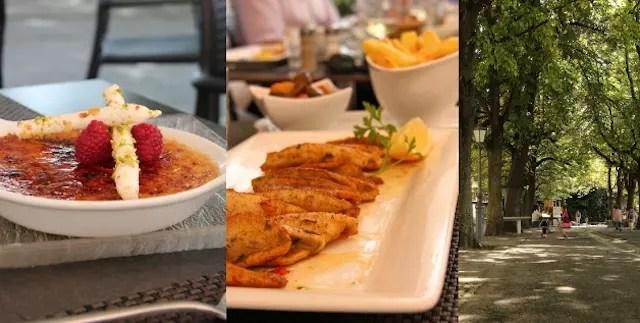 sobremesa, o peixe clássico de Genebra e a área verde em frente ao restaurante