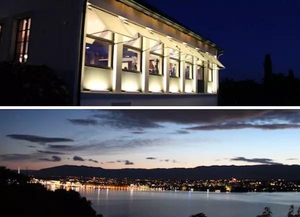 o restaurante à noite com uma vista linda de Genebra