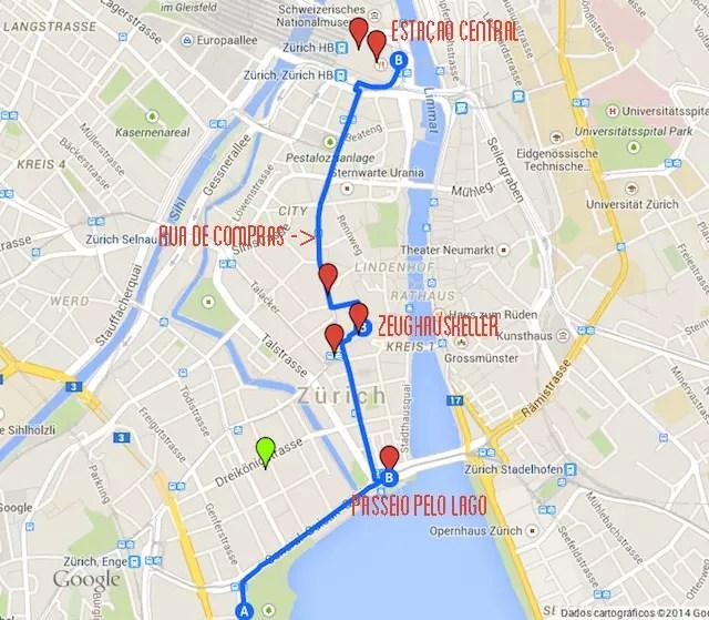 mapa roteiro Zurique