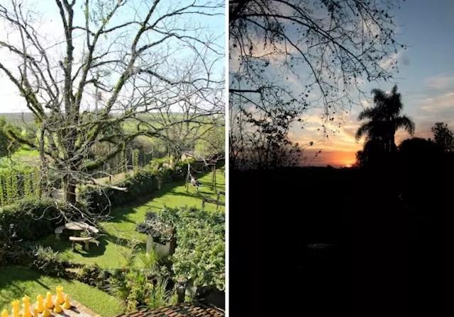 O visual da janela do quarto: ao amanhecer e no final do dia