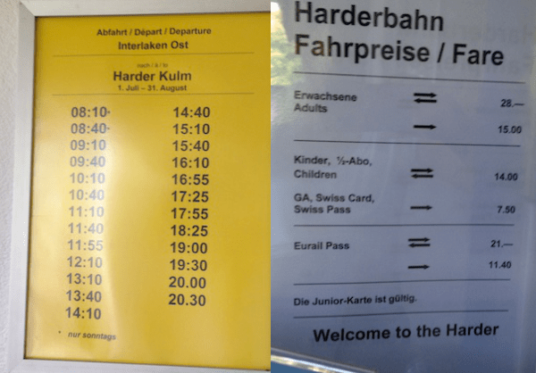 horários e preços Funicular para Harder Kulm