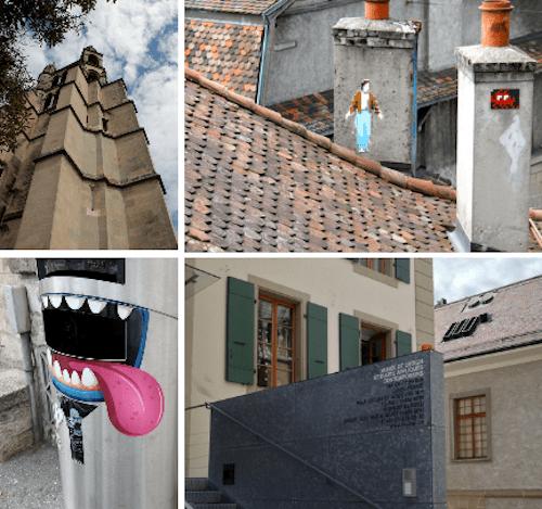 A torre da Catedral, o Museu de Design e alguns detalhes curiosos da área como o design da lixeira de rua e as interferências nas chaminés
