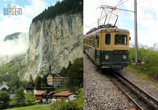 O visual incrível desde o início do percurso de trem e o último trem por tração em cremelheiras que leva ao topo da montanha