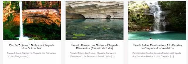 Alguns dos roteiros oferecidos no site da Chapada Brasil Tours